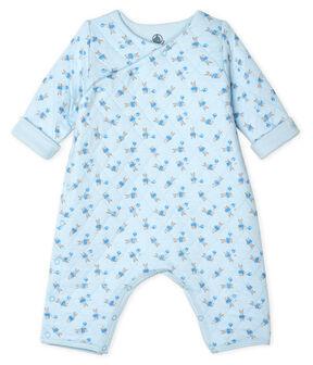 Tutina lunga bebè unisex in tubique blu Fraicheur / bianco Multico