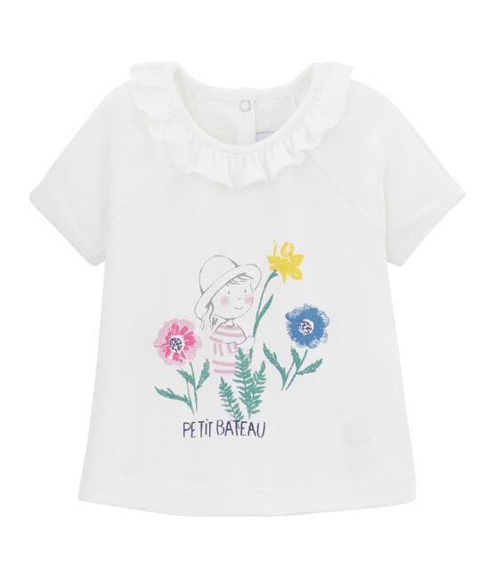 T-shirt a tinta unita bebè femmina bianco Marshmallow / bianco Multico
