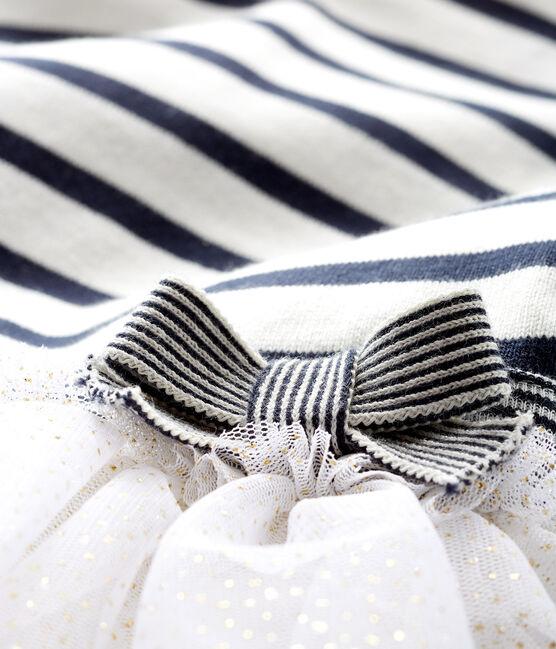 Abito a maniche lunghe da bebè femmina a righe bianco Marshmallow / blu Smoking