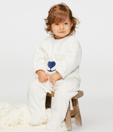 Tutina imbottita senza piedi bebè in pile bianco Marshmallow