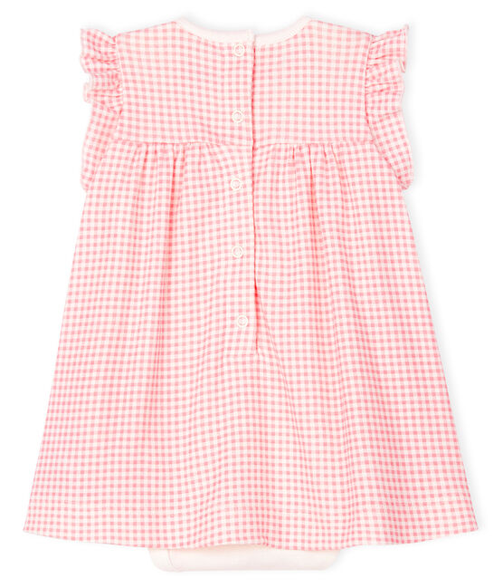 Body abito vichy rosa bebé bambina a costine bianco Marshmallow / rosa Gretel