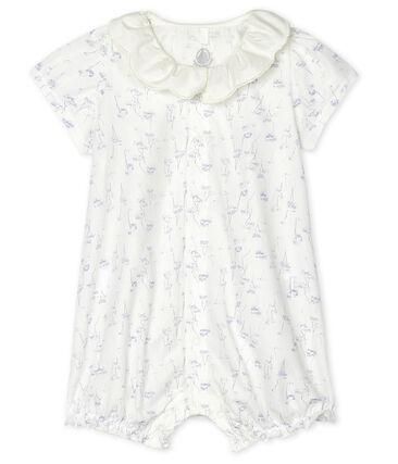 Tutina corta bebè femmina in popeline. bianco Marshmallow / bianco Multico