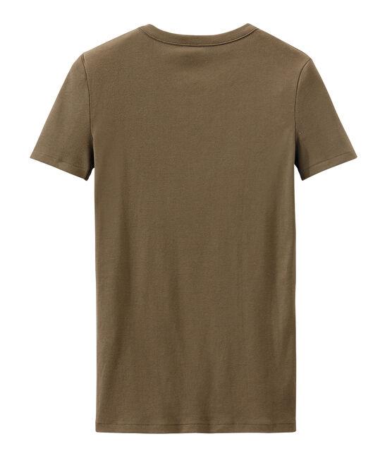 T-shirt donna in costina originale 1x1 marrone Shitake