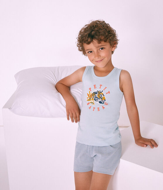 Pigiama corto bambino a costine blu Fontaine / bianco Marshmallow