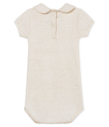 Body mc colletto alla claudine brillante neonata bianco Marshmallow / rosa Copper