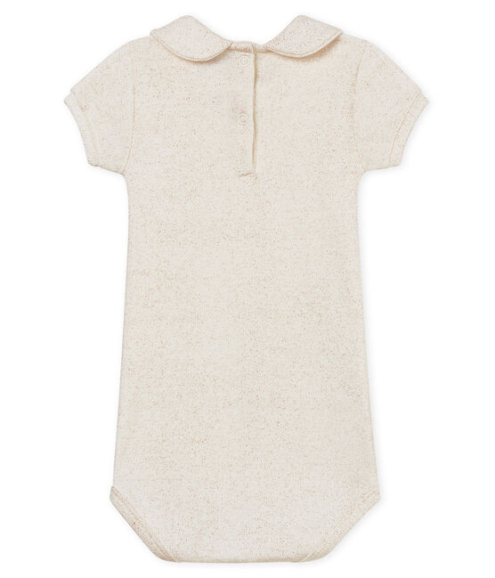 Body mc colletto alla claudine brillante neonata bianco Marshmallow / rosa Copper