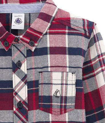 Camicia a quadri per bambino in twill blu Smoking / rosso Terkuit