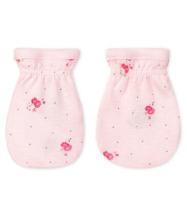 Paio di muffole a costine, il tessuto emblematico di Petit Bateau. rosa Vienne / bianco Multico