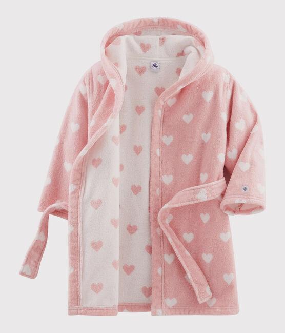 Accappatoio cuore bambina in spugna rosa Charme / bianco Marshmallow