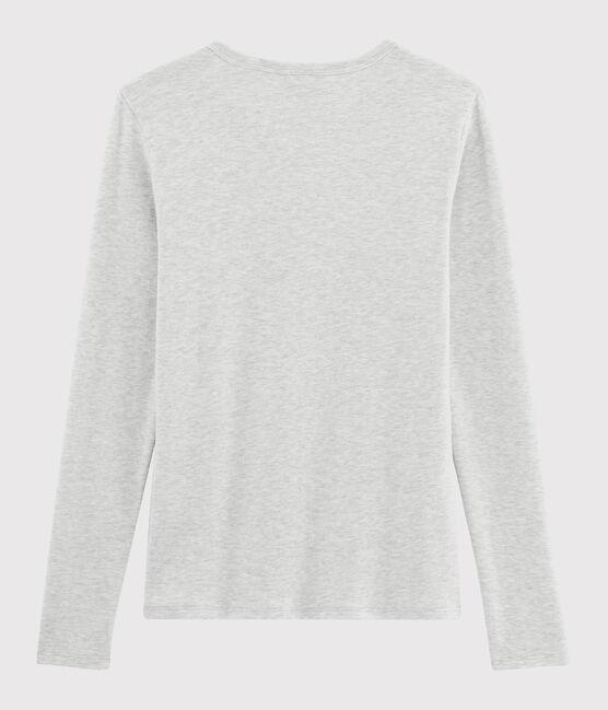 T-shirt iconica scollo a V donna grigio Beluga