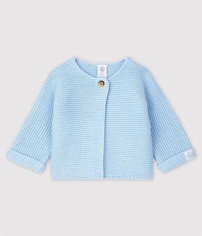 Cardigan bebè in tricot di cotone biologico blu Toudou
