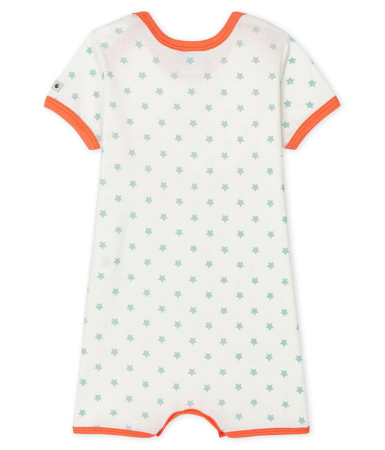 Tutina corta bebè bambino a costine bianco Marshmallow / verde Verglas