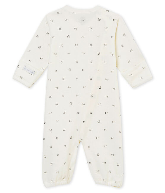 Combisac per bebé unisex in tubique stampato bianco Marshmallow / nero Noir