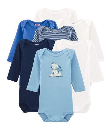 Pochette sorpresa di 7 body a manica lunga bebè maschio lotto .