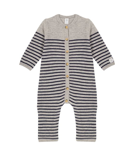 Tutina lunga bebè in 100% cashmere grigio Subway / blu Smoking