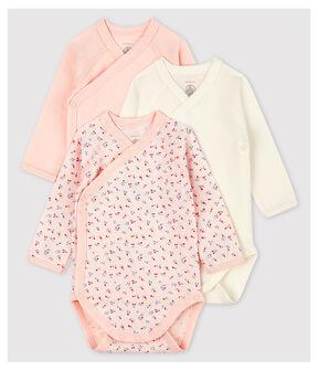 Confezione da 3 body incrociati manica lunga bebè in cotone biologico lotto .