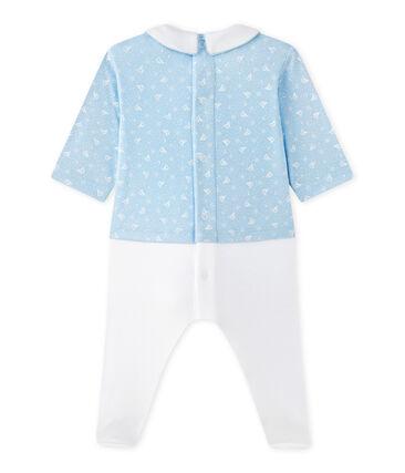 Tutina per bebé maschio doppio tessuto blu Toudou / bianco Ecume