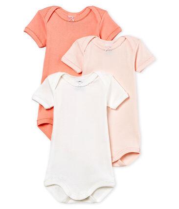 Trio body manica corta bebè bambina in cotone e lino