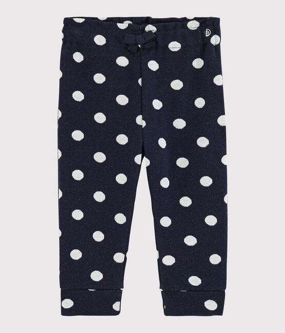 Pantalone bebè femmina a pois blu Smoking / bianco Marshmallow