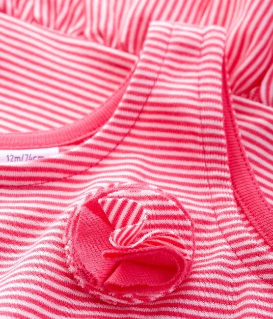 Abito senza maniche bebè femmina in maglia rosa Geisha / bianco Marshmallow