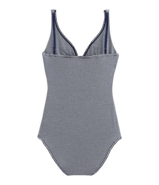 Body senza maniche donna in jersey extrafine blu Abysse / bianco Lait