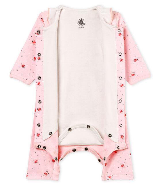 Bodyjama senza piedi bebè femmina a costina 1x1 fantasia rosa Vienne / bianco Multico