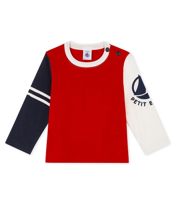 T-shirt a manica lunga bebè maschio rosso Terkuit / bianco Multico