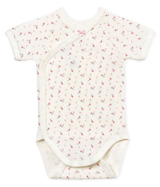 Body nascita manica corta bebè femmina bianco Marshmallow / bianco Multico