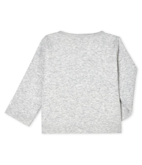 Cardigan bebè a costina 2x2 grigio Beluga