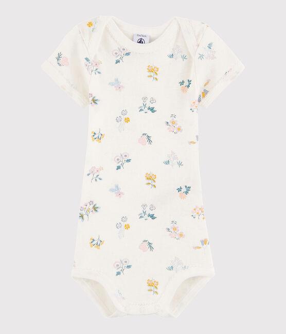 Body manica corta bebè femmina bianco Marshmallow / bianco Multico