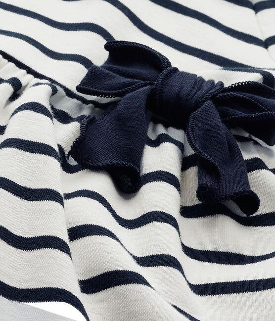 Abito per bebè femmina a righe bianco Marshmallow / blu Smoking