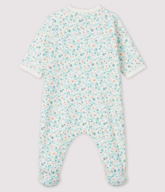 Pigiama tutina con stampa a fiori neonato in tessuto felpato bianco Marshmallow / bianco Multico