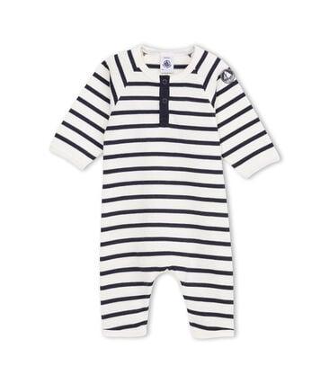 Coordinato bebé bambino in jersey pesante a righe beige Coquille / blu Abysse