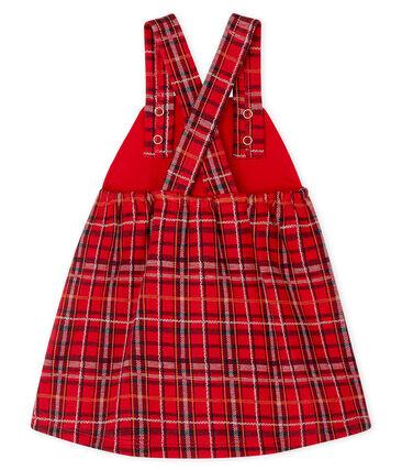 Abito salopette bambina a scacchi rosso Terkuit / bianco Multico