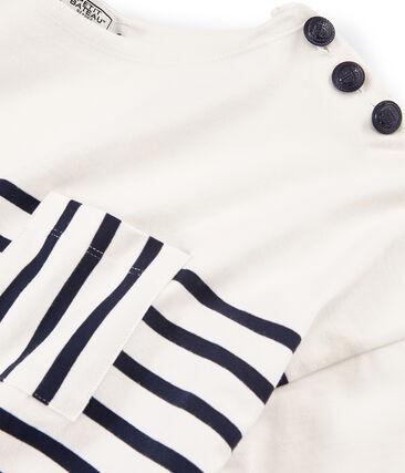 Marinière maniche corte donna bianco Marshmallow / blu Smoking