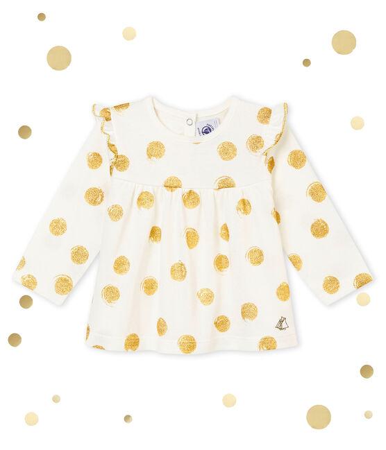 Blusa stampata per bebé femmina bianco Marshmallow / giallo Dore