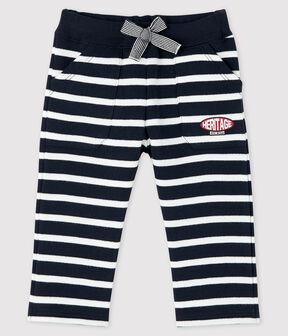 Pantalone a righe marinare bebè maschietto blu Smoking / bianco Marshmallow