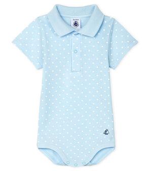 Body con colletto a polo fantasia bebè maschietto blu Fraicheur / bianco Marshmallow