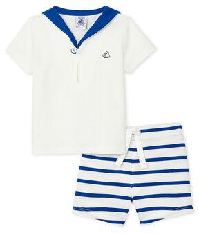 Completo due pezzi bebè maschio bianco Marshmallow / blu Surf