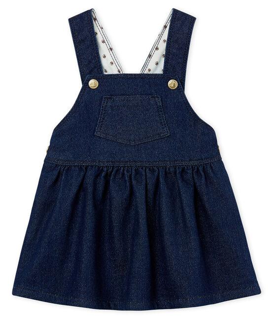Abito salopette bambina in maglia effetto denim blu Jean