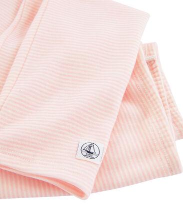 Leggings bambino in lana e cotone rosa Charme / bianco Marshmallow