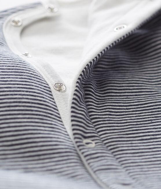 Tutina pigiama senza piedi in tubique da neonato blu Smoking / bianco Marshmallow