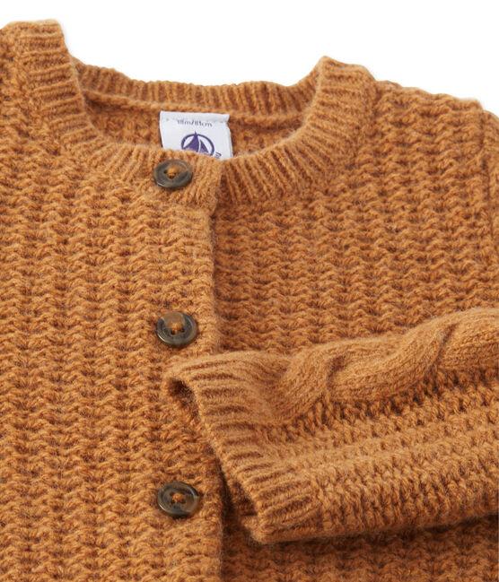 Cardigan per bebé femmina in misto lana marrone Cuivre