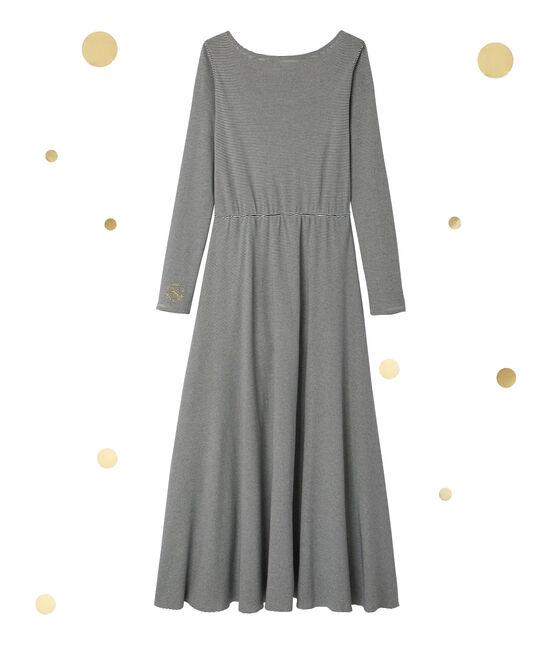 Robe longue femme à manches longues. Petit bateau x Marie-Agnès Gillot blu Smoking / beige Coquille
