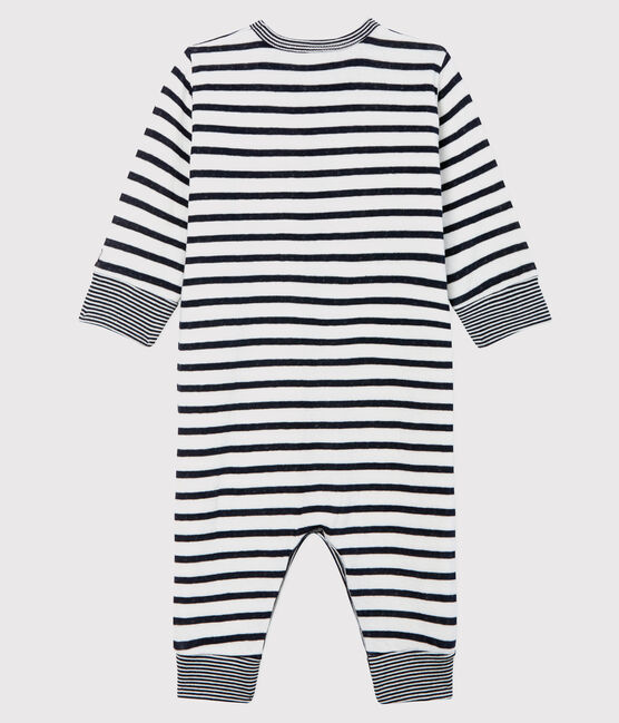 Tutina senza piedi a righe bebè unisex in tubique bianco Marshmallow / blu Smoking