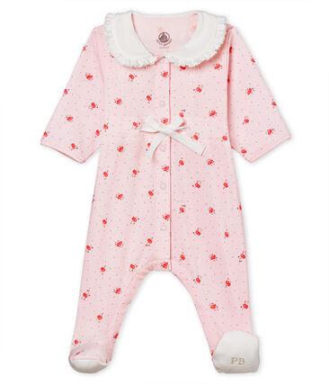 Tutina pigiama bebè femminuccia a costina 1x1 fantasia