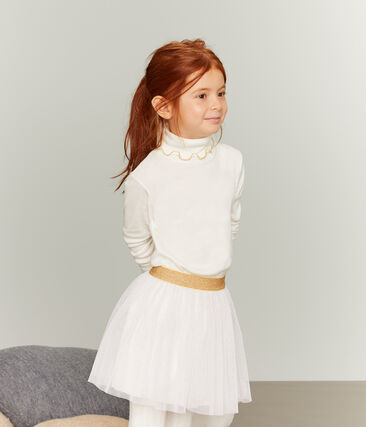 Gonna in tulle bambina bianco Marshmallow / giallo Or