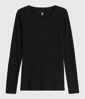 T-shirt in lana e cotone Donna nero Noir