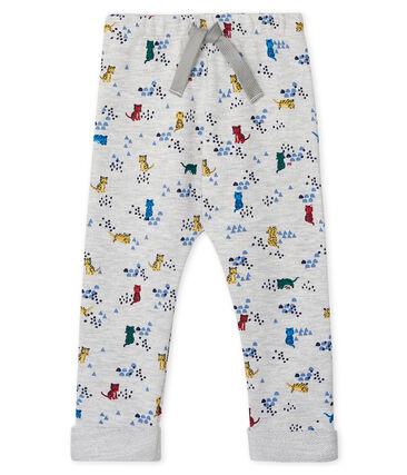 Pantalone bebè maschio in molleton fantasia grigio Beluga / bianco Multico