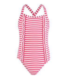 Costume da bagno bambina con protezione solare rosa Geisha / bianco Marshmallow